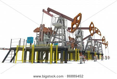 Oil pump-jacks. Isolated
