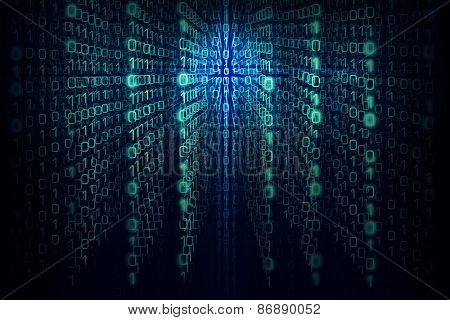 Matrix program background with the green and  blue symbols