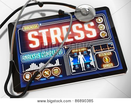 Stress on the Display of Medical Tablet.