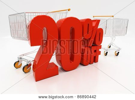 20 percent off. Discount 20. 3D illustration