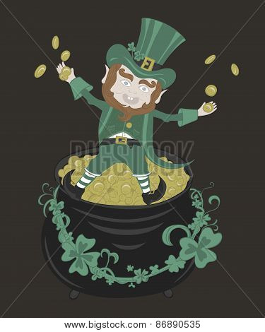 Saint Patrick playing with golden coins.