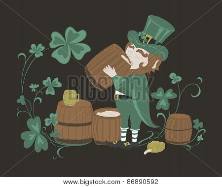 Leprechaun drinks beer from a wooden barrel.