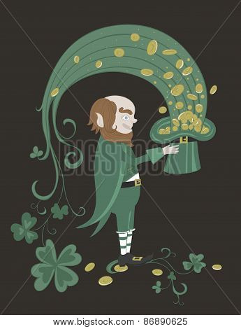 Leprechaun holding a green hat with gold coins.