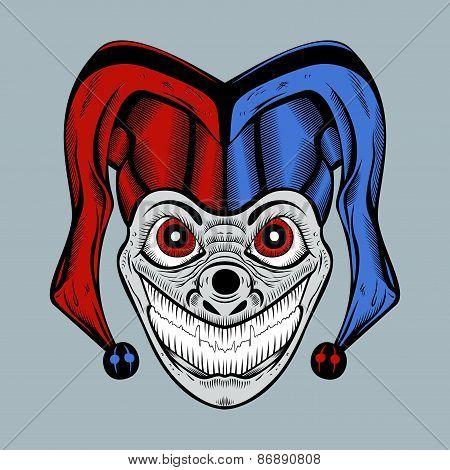Illustration of evil clown in colored cap.