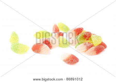 Pile of multiple sugar coated jelly candies