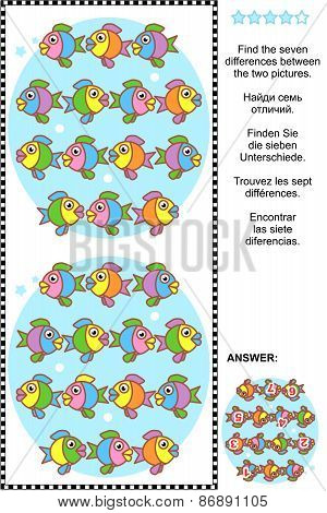 Find the differences visual puzzle - fish