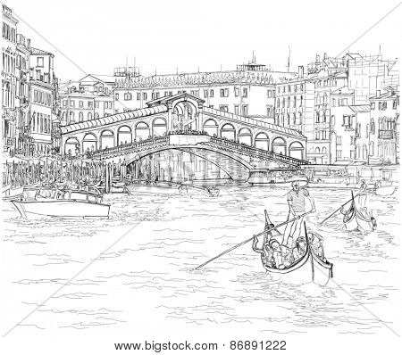 Venice - Grand Canal. View of the Rialto Bridge