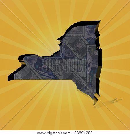 New York map on dollars sunburst illustration