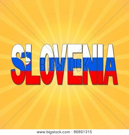 Slovenia flag text with sunburst illustration