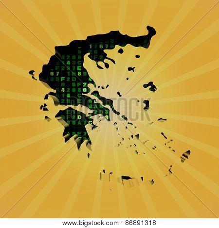 Greece sunburst map with hex code illustration