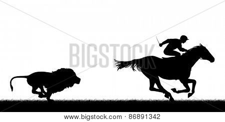 Silhouette illustration of a male lion chasing a horse and jockey