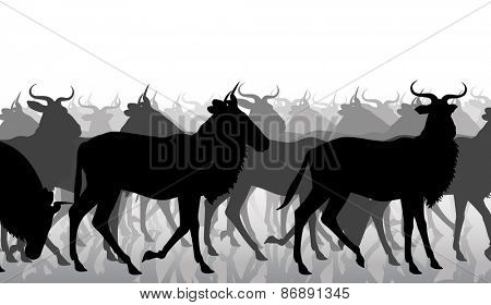 Cutout illustration of a herd of adult wildebeest