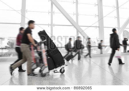 Traveler at airport,motion blur,China