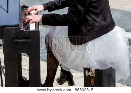 Young Lady Playing Electric Piano