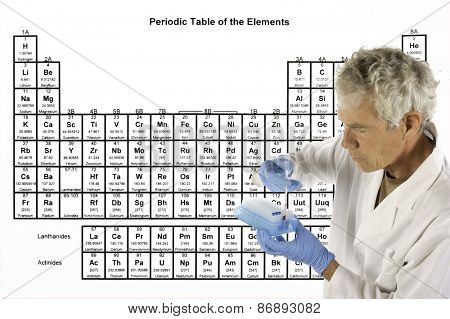Scientist explaining a complex theory or analysis in front of the periodic table of elements
