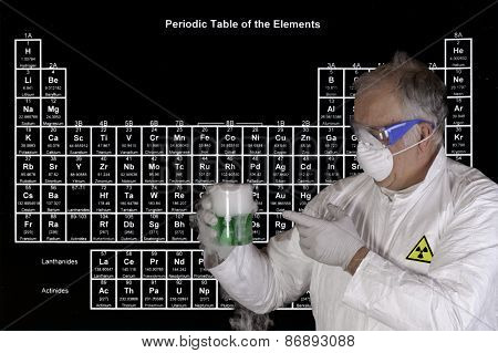 Scientist holding a toxic chemical reaction in front of the periodic table of elements