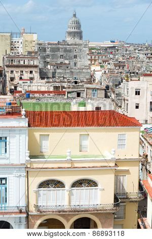 View of Old Havana with the Capitol building on the background