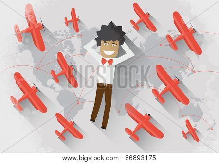 Travel concept Man lie on the world map surrounded by red airplane and dream about travel
