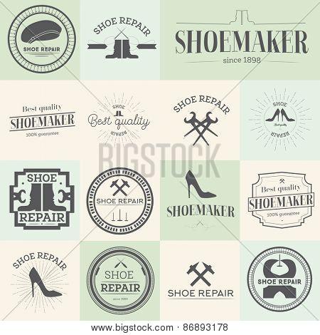 Set of vintage shoes repair and shoemaker labels, emblems and designed elements Vector illustration
