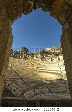 Ancient theater under Acropolis of Athens, Greece.