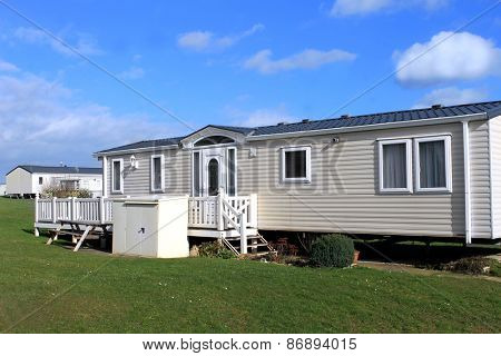 White caravans in a modern trailer park, Scarborough, England.
