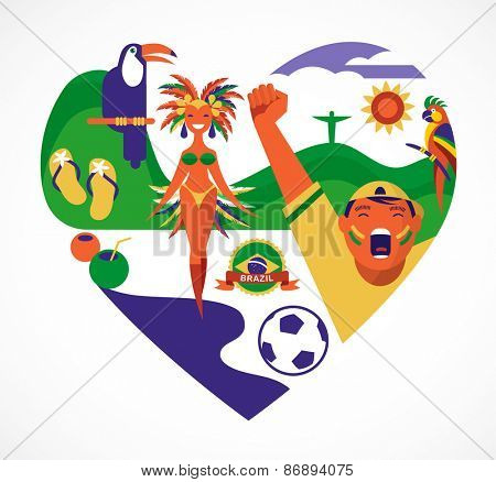 Brazil love - heart with a collection of icons and illustrations