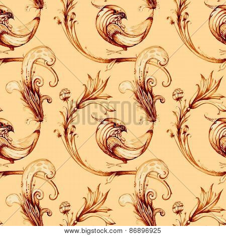 Birds and flower seamless watercolour pattern. Vector vintage ba