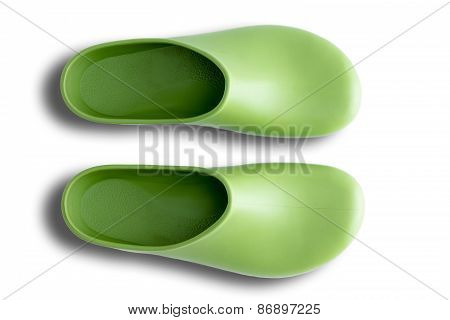 Pair Of Clean Green Gardening Shoes