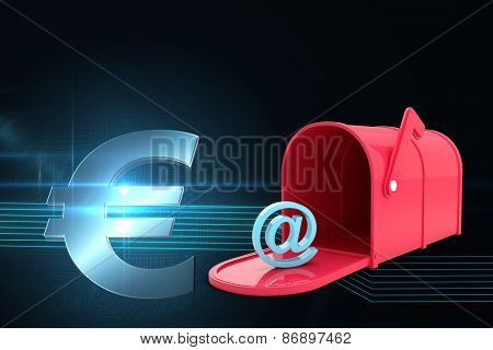 Red email post box against euro sign on technical background