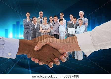 Close-up shot of a handshake in office against blue bar chart graphic with light