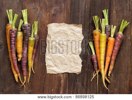 Fresh Organic Rainbow Carrots And Paper