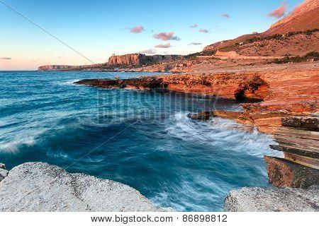 Colorful sicilian coast at sunset