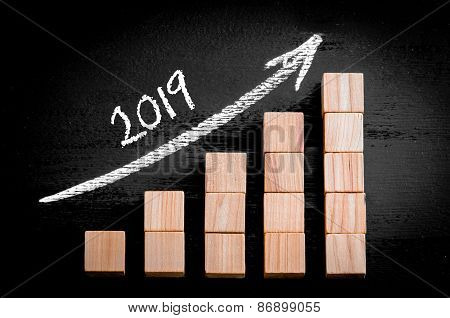 Year 2019 On Ascending Arrow Above Bar Graph