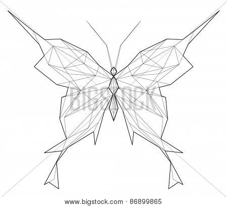 Butterfly. Low polygon linear illustration