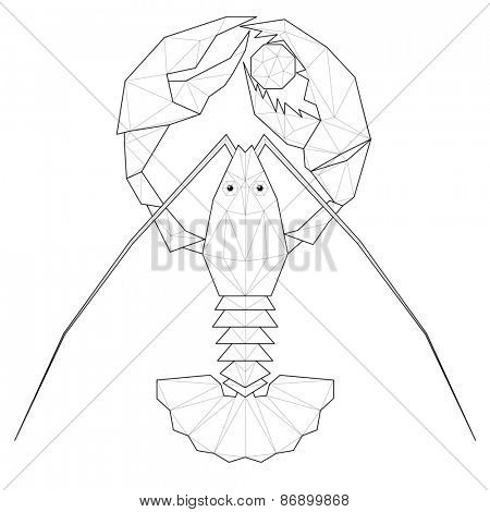Lobster. Low polygon linear illustration