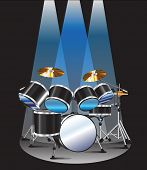 foto of drum-set  - Drum set background blue lighting graphic design - JPG