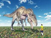 stock photo of dinosaur  - Computer generated 3D illustration with a reckless tourist and the dinosaur Acrocanthosaurus - JPG