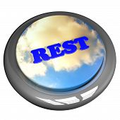 stock photo of rest-in-peace  - Rest word with cloudy sky button isolated over white 3d render - JPG
