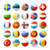 stock photo of flags world  - World flags round badges - JPG