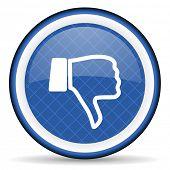 foto of dislike  - dislike blue icon thumb down sign  - JPG