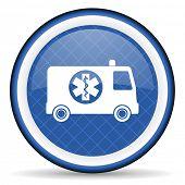 stock photo of ambulance  - ambulance blue icon   - JPG
