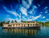 picture of houseboats  - Kerala India  travel background  - JPG