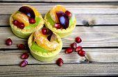 foto of tarts  - Three small fruit tart on wooden table - JPG