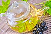 pic of bamboo leaves  - Tea in a glass teapot with leaves of black currant - JPG