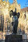 Постер, плакат: Modern Statue Of John The Baptist Near The Cathedral In The Dutch City Of Den Bosch Netherlands