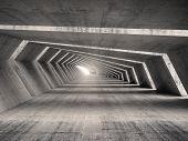 foto of illuminated  - Abstract illuminated empty bent concrete corridor interior 3d illustration - JPG