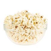 stock photo of popcorn  - Glass bowl full of popcorn isolated over the white background - JPG