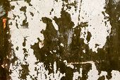 pic of nail paint  - Abstract background gloomy concrete wall casually painted dark green paint weathered with cracks and scratches in the wall hammered a rusty nail - JPG