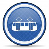 stock photo of tram  - tram blue icon public transport sign  - JPG