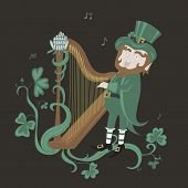 pic of leprechaun  - Leprechaun playing the harp and singing - JPG
